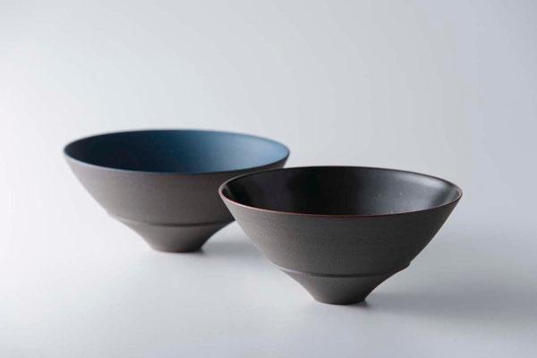 黒陶碗 (黒・青) φ15cm