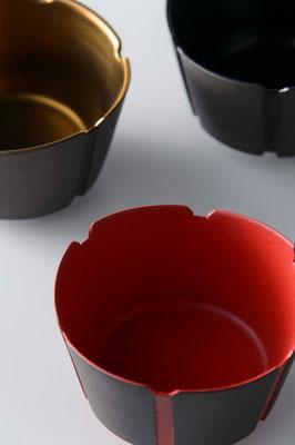 黒陶線条小碗 (朱・金・黒) φ18cm