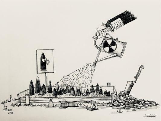 Sicherheitskonferenz am 18.2. in München - Karikatur Tusche 30 x 42