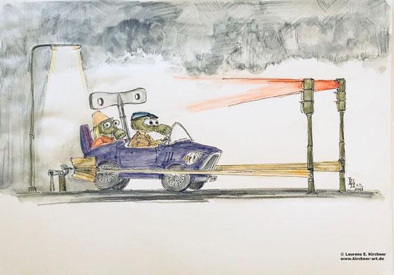 Luftverschmutzung durch Dieselfahrzeuge - Karikatur