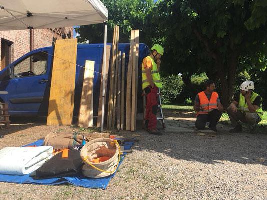 Certificazioni ETW Monza 2018, prova di simulazione di protezione degli alberi in cantiere - Esaminatori: Marco Montepietra, Nicola Bussola