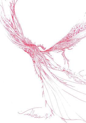「飛翔」 赤ボールペン