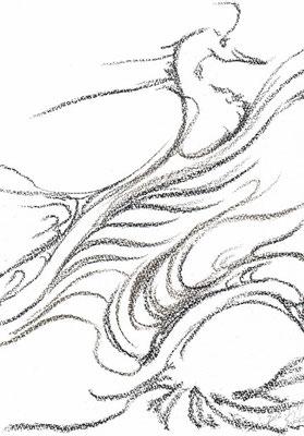 「白鳥」  使用画材・コンテ&パステル