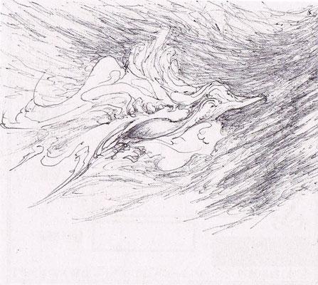 「疾駆する小鳥」   使用画材(黒ボールペン
