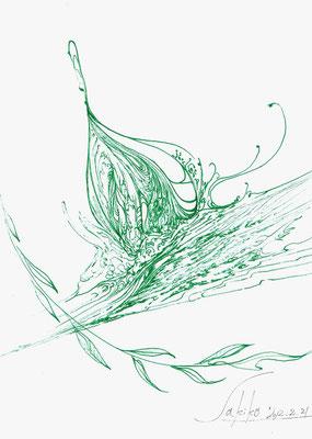 「カタツムリ」 緑ボールペン