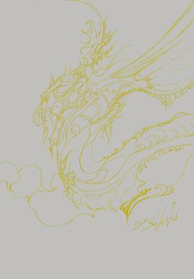 「黄竜」 使用画材(ガラスペン・インク