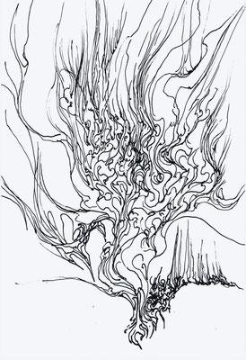 「手炎」 使用画材・ペン