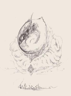 「蛇3 - ヘビのタマゴ- 」 黒ボールペン