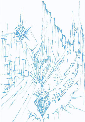 「クリスタル~光の晶滴~」  使用画材(ポスカ・メタリックブルー