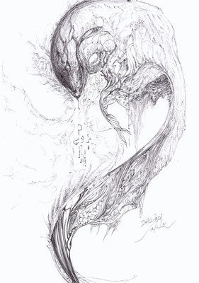 「蛇2 - 蛇炎 - 」 黒ボールペン