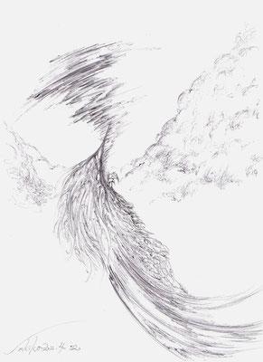 「つむじ風をおこす者」 黒ボールペン