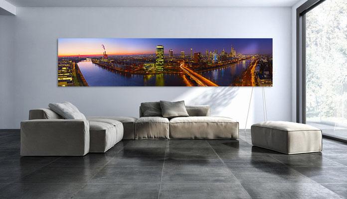 Skyline Frankfurt auf Alu Dibond 300 cm