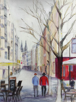 Friesenstraße 2016, 30 x 40 cm, Mischtechnik auf Papier