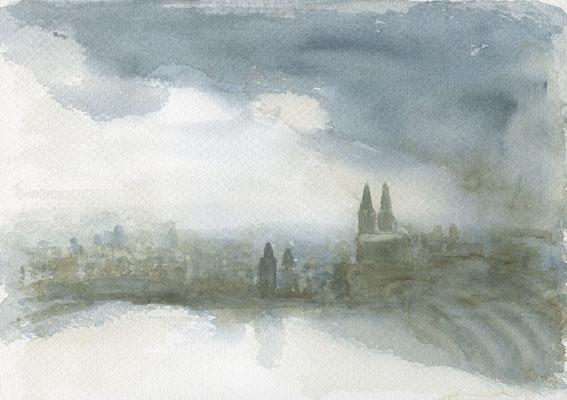 Köln-Panorama, 2017, 17 x 27 cm, Aquarell