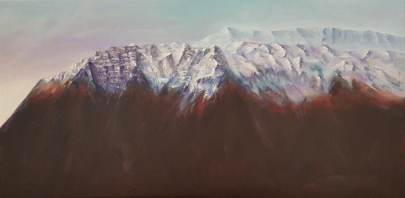 Bergwelt, Öl auf Leinwand, 50 x 100 cm, 2018