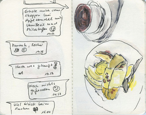 WhatsApp-Chat-13, 2016, Filzstift und Aquarell