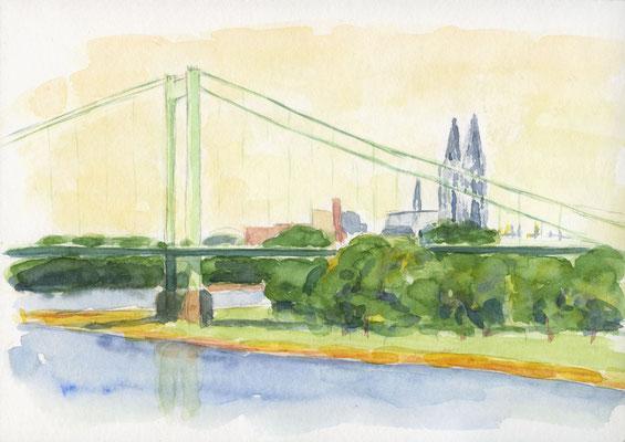 Mülheimer Brücke, 2017, 21 x 15 cm, Aquarell