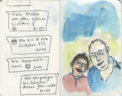 WhatsApp-Chat-14, 2016, Filzstift und Aquarell