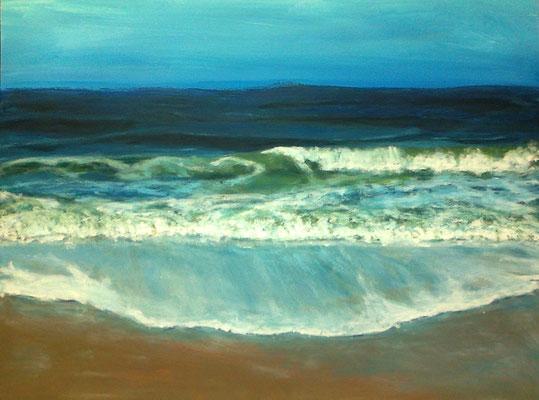 Am Strand, Acryl auf Papier