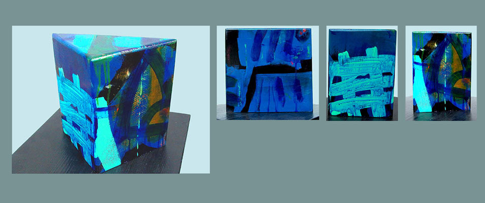 """Objekt 11"" bemaltes (Acryl) Holz-Objekt dreieckig 2001 20 x 20 x 11 cm €  350,-"