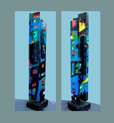 """""""Stele 5"""" bemalter (Acryl) Holz-Balken mit Brett, 2004, Betonsockel, Höhe ca. 109 cm mit Sockel, 100 cm ohne Sockel x 17 x 12,5 cm - € 700,"""