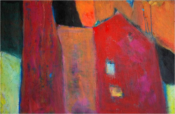 """""""Das rote Haus"""" Öl auf Hartfaser 48 x 74 cm € 500,-"""