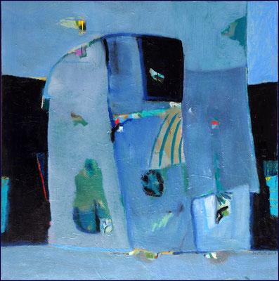 Blaue Figur nach links - Öl auf Leinwand 100 x 100 cm - € 700,-