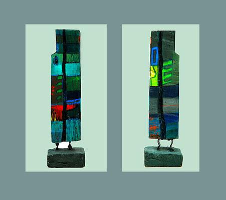 """Stele 6"""" bemalter (Acryl) Holz-Balken mit Brett, 2004, Betonsockel, Höhe ca. 82 cm mit Sockel x 18 x 12 cm - € 500,-"""