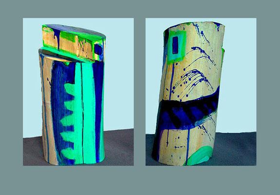 """""""Objekt 3"""" bemaltes (Acryl) Holz-Objekt (Teil eines Birkenstamms), 2000 Vorder- und Rückseite ca. 32 x 19 cm €  400,-"""