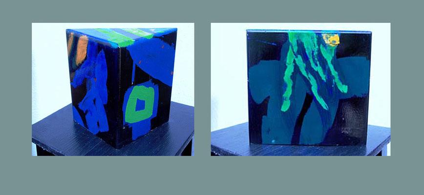 """Objekt 13"" bemaltes (Acryl) Holz-Objekt dreieckig 2001 20 x 20 x 11 cm €  350,-"