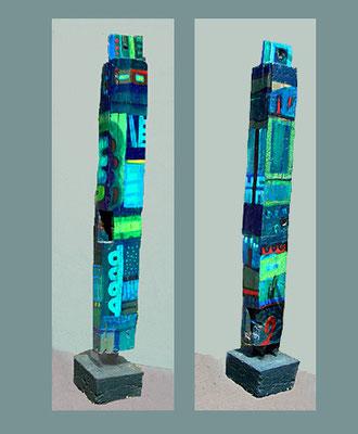 """Stele 4"" bemalter (Acryl) Holz-Balken, 2003, Betonsockel, Höhe ca. 124 cm mit Sockel 109 cm, ohne Sockel x 12 x 12,5 cm, eine Ecke abgeschrägt - € 700,-"