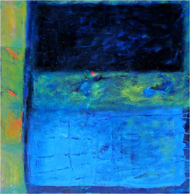 """""""Schweres Blau und leichtes Blau"""" Öl auf Leinwand 100 x 100 cm Privatbesitz Basel"""