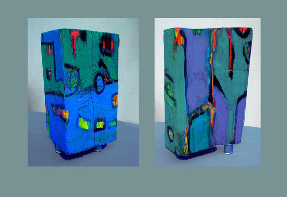 """Objekt 5"" bemaltes (Acryl) Holz-Objekt, 2004 Vorder- und Rückseite 34,5 x 19,5 x 15 cm €  250,-"