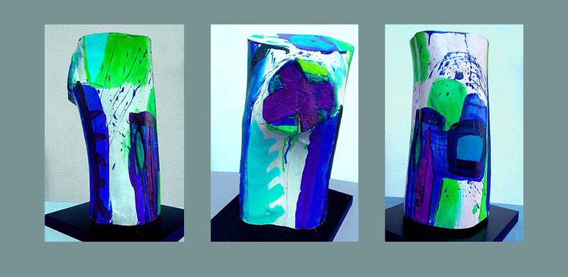 """""""Objekt 6"""" bemaltes (Acryl) Holz-Objekt (Teil eines Birkenstamms), 2000 Ansicht 3 Seiten ca. 31,5 x 20 cm €  350,-"""