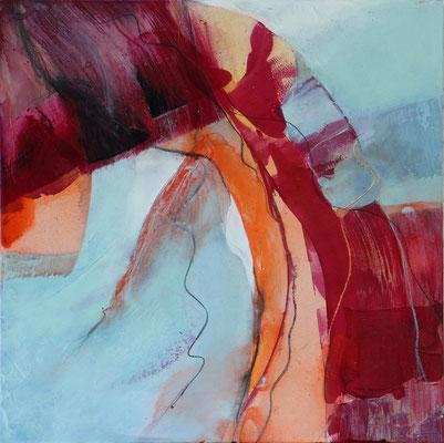 """Frühling 1"" | 2017 | 30 x 30 | Acryl, Pastellstifte auf Gessoboard"