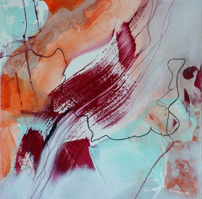 """Frühling 2"" | 2017 | 30 x 30 | Acryl, Pastellstifte auf Gessoboard"