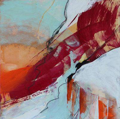 """Frühling 4"" | 2017 | 30 x 30 | Acryl, Pastellstifte auf Gessoboard"