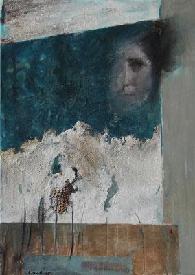"""Augenblick""  | 2015  |  50 x 70  |  Rostpapier, Champagnerkreide, Sand"