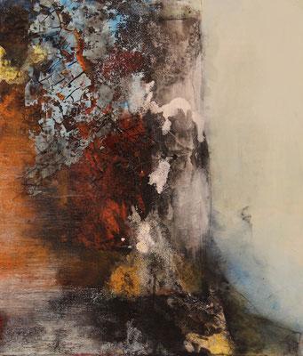 """Zerfall""  |  2016  |  70 x 60  |  Acryl, Airbrush, Marmormehl, Sand, Draht"