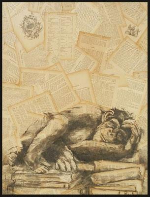 So sollt ihr leben II / Zeichenkohle auf alten Buchseiten / Preis mit Rahmen 450.- Euro