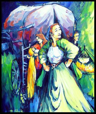 Mutter Courage / Acryl auf Leinwand  60x50cm /       Preis mit Rahmen: 450.- Euro