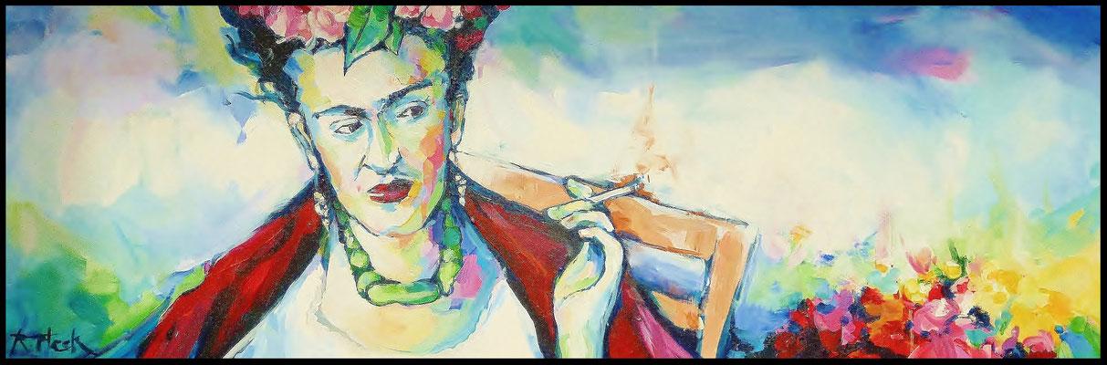 Frida im Garten / Acryl auf Leinwand 40cmx120cm /    Preis mit Rahmen: 600.- Euro