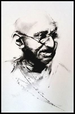Gandhi / Zeichenkohle auf Papier 30x24cm / verkauft