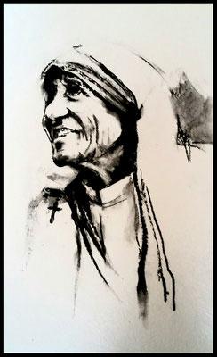Mutter Teresa / Zeichenkohle auf Papier 30x24cm / Preis mit Rahmen 280.- Euro