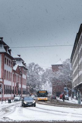 Mainzer Stadtverkehr bei Schnee