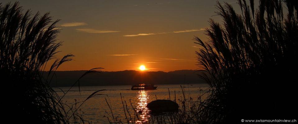 Sonnenuntergang am Bodensee in Überlingen