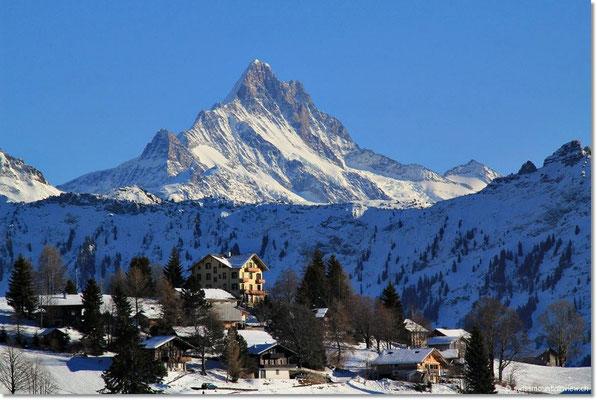 Beatenberg, Sicht auf Waldegg, Schreckhorn