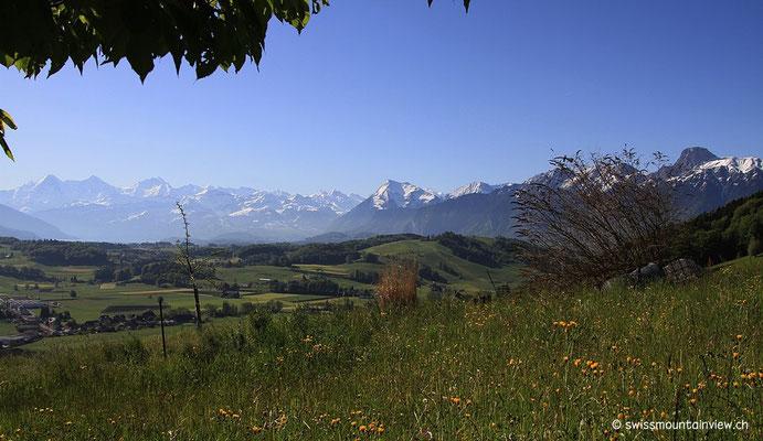 von wo man einen herrlichen Ausblick Richtung Berner Oberland hat.