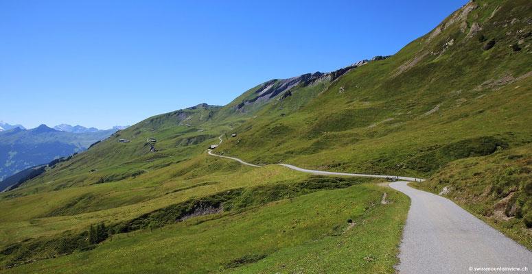 gegenüber dieser geteerten Alpstrasse - der Seite entlang hinüber auf die First.
