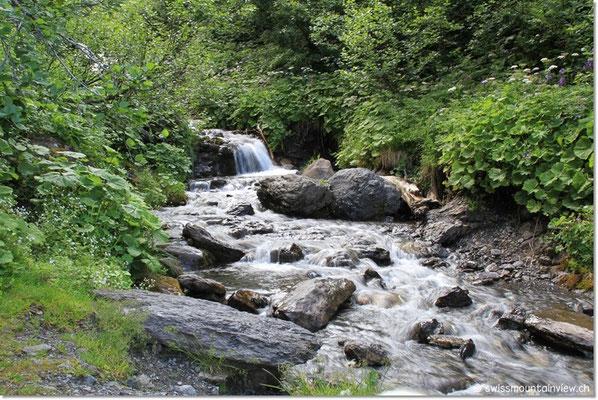 Der Staubbach; ein bisschen weiter unten der eindrückliche Staubbachfall bei Lauterbrunnen.
